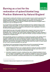 Burning as a tool for the restoration of upland blanket bog: Position Statement from Natural England (Thumbnail link to record)