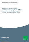 Summary of Natural England's confirmed advice provided to Defra on Marine Conservation Zones to be considered for designation in 2019 (Thumbnail link to record)